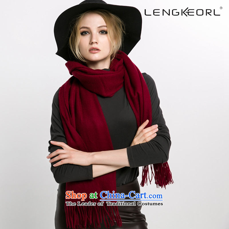 Pashmina shawl Ling Ke two with women thick pure Cashmere scarf pure colors of autumn and winter warranty warm female su thick wine red