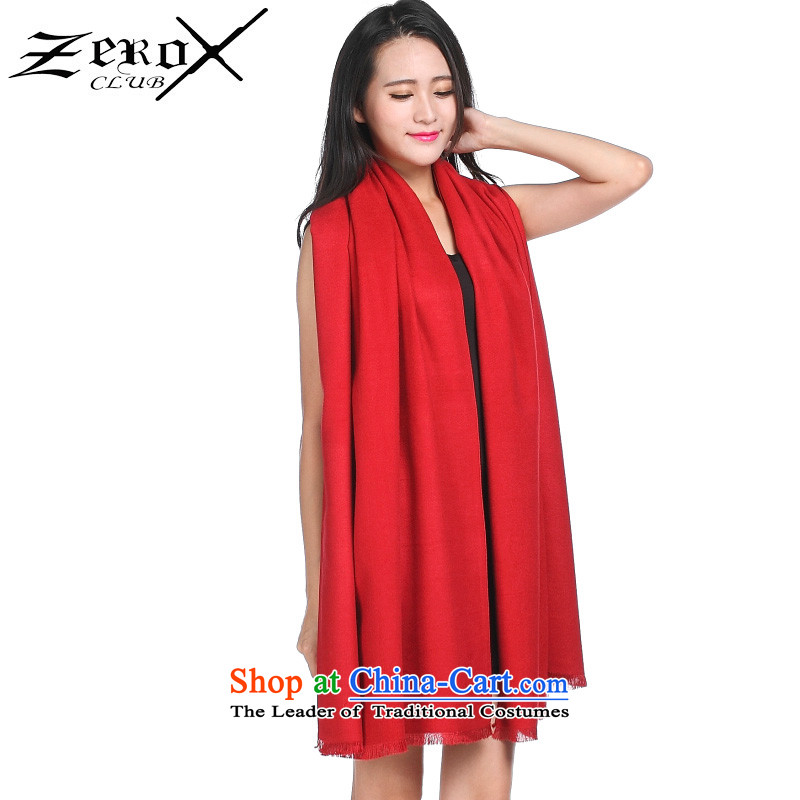 Ms. zeroxclub autumn and winter solid color two-sided brushed warm air-conditioning with two shawls scarves multi-color optional PJ-803 red