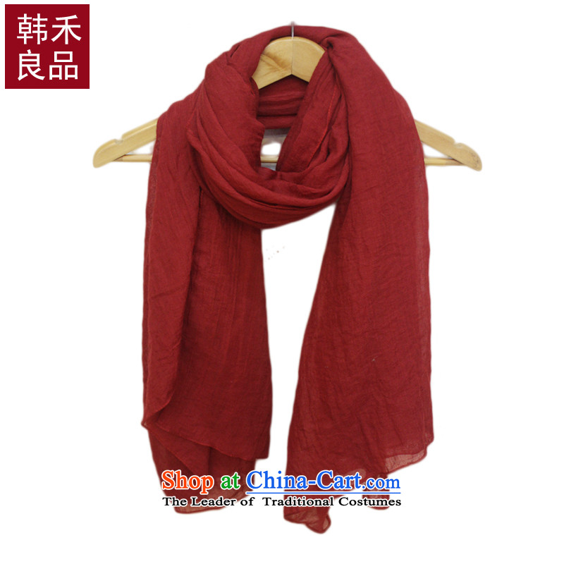 Korea wo cotton linen quality solid color range of literature and art towel shawl summer air-conditioning shawl sum female fresh red silk scarf