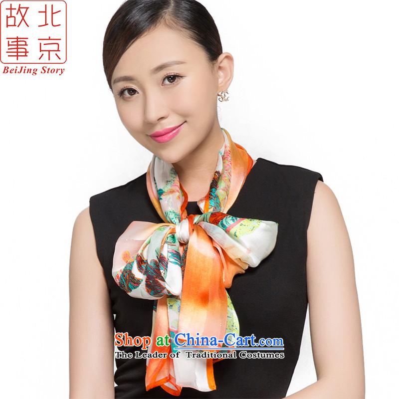 Beijing story silk scarfs female sauna silk shawls sunscreen beach silk scarfS15046- light dance flowers - Orange