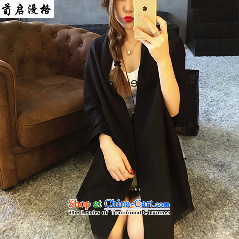 Sun Kai Man, New autumn and winter pure color Cashmere scarf ultra long stream of thick shawl XWY601 Ms. black