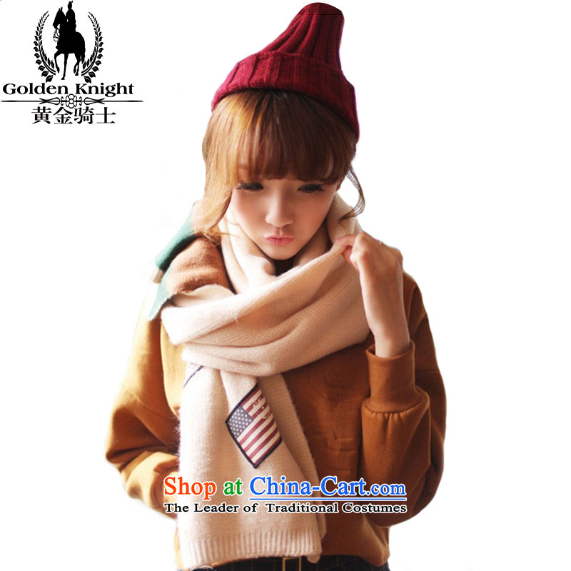 Knight of the scarf knitting women gold Korean version of autumn and winter warm shawl a use two couples Knitting scarves190_35cm beige