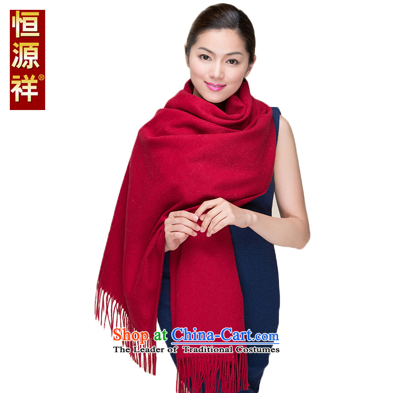 Hengyuan Cheung female warm Red Shawl wooler scarf Thick Long bride solid color scarf of autumn and winter Tai Wai Shing Red