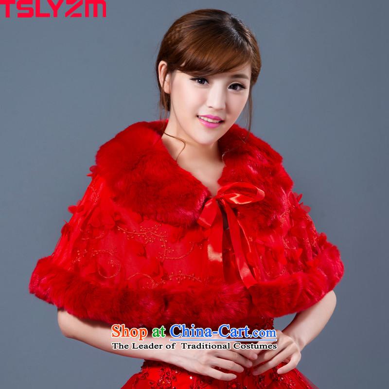 Tslyzm emulation fur bride wedding shawl 2015 Korean gross autumn and winter wind Short, sweet red lapel red cloak