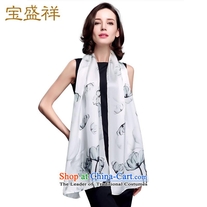 Blossom Cheung autumn new women silk long towel sauna silk satin shawl a dancing autumn colors white