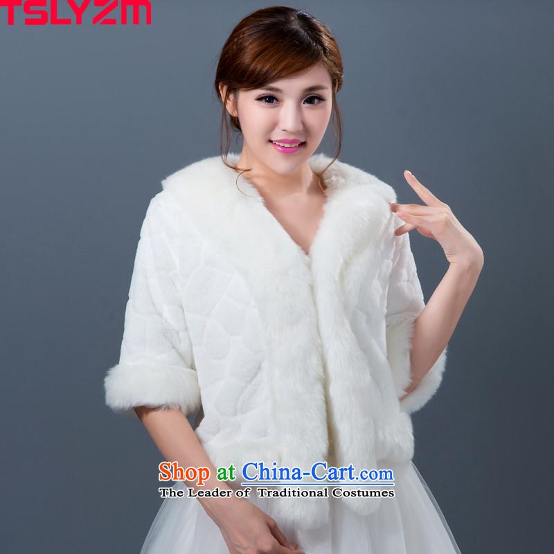 Tslyzm bride wedding shawl emulation fur fox gross won warm ponies a version 2015 autumn and winter in the Korean-style New cuff gross Neck Jacket White
