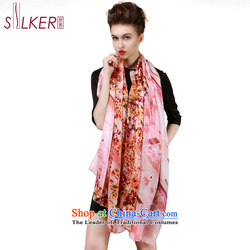 The population sector SIGI autumn and winter female stylish silk scarfs ocean woven silk scarf herbs extract stamp on Carnival Fang shawl Pink