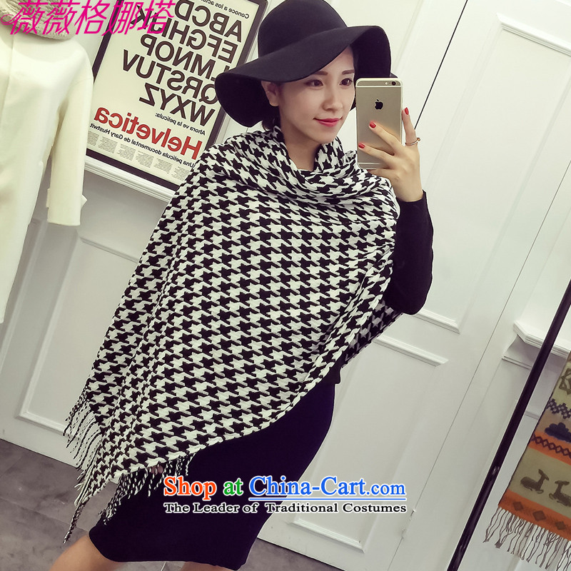 Weiwei Grid Natasha autumn and winter new western style chidori grid couples, warm thick rectangular edging scarf AA1533200_80cm color picture