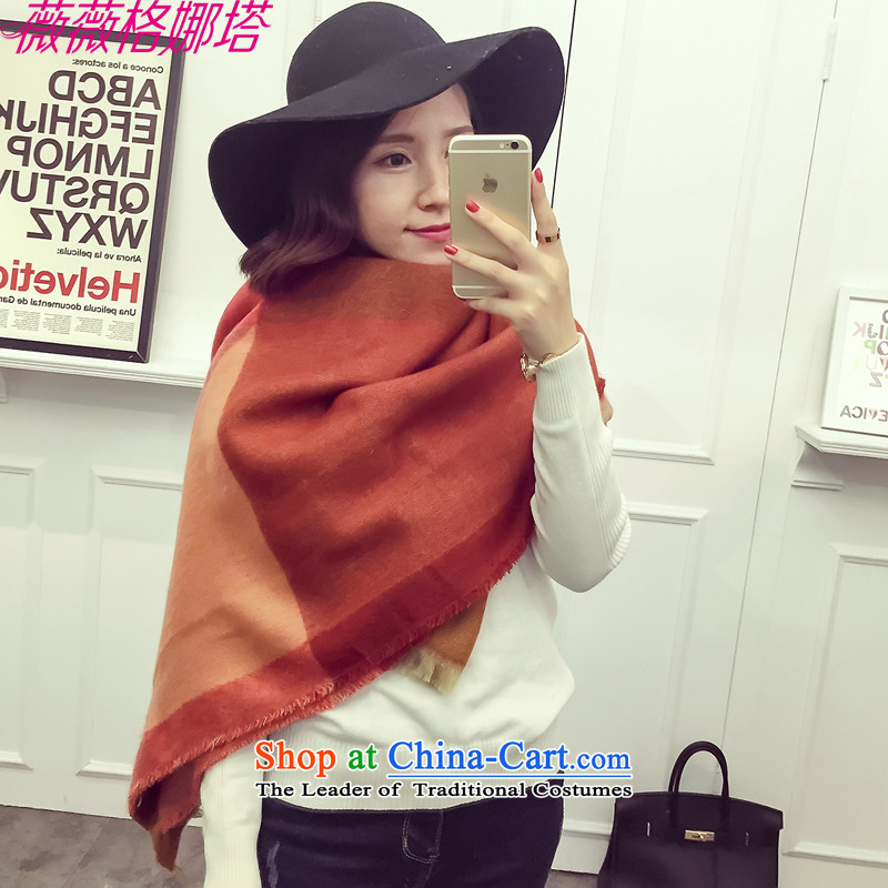Weiwei Grid Natasha autumn and winter new western style color squares spelling knocked color ethnic scarves, two shawls AA1537 with orange140_130cm