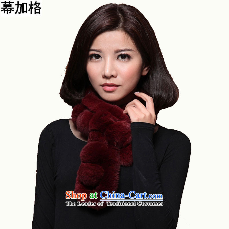 The Gagra process and woolen cravat, warm winter new Korean rabbit hair a stylish T type fur muffler M3160Wine red