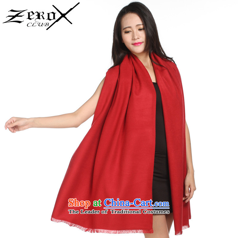 Ms. zeroxclub autumn and winter solid color two-sided brushed warm air-conditioning shawl scarves scarves with two 13-color optional graphics temperament Sleek and versatile PJ-803 red
