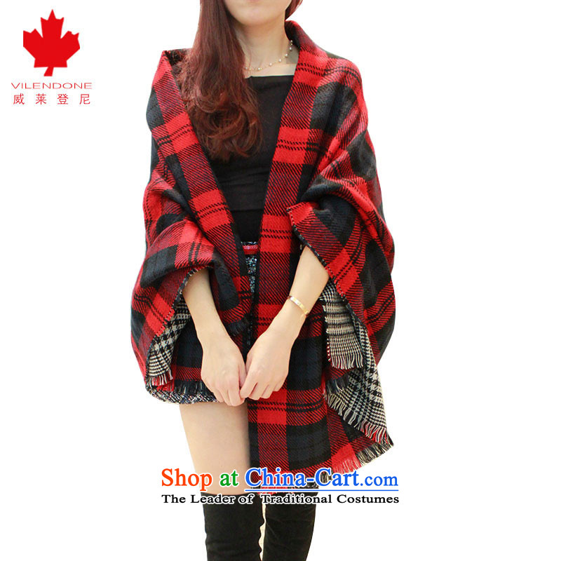 Verisign and scarves leyden female autumn and winter air conditioning shawl scarf emulation Cashmere scarf of classic chidori England latticed wild flow Su Fancy Scarf Two-sided red checkered by 9065