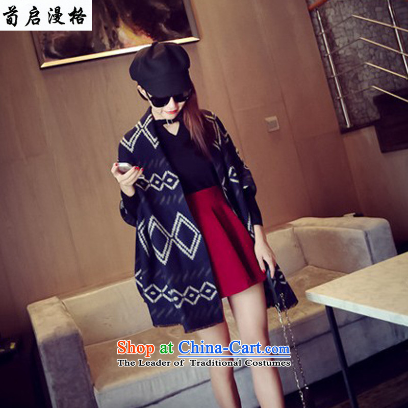 Sun Kai Man, autumn and winter new geometry diamond spell color two-sided edge of autumn and winter warm Fancy Scarf XWY613 navy blue