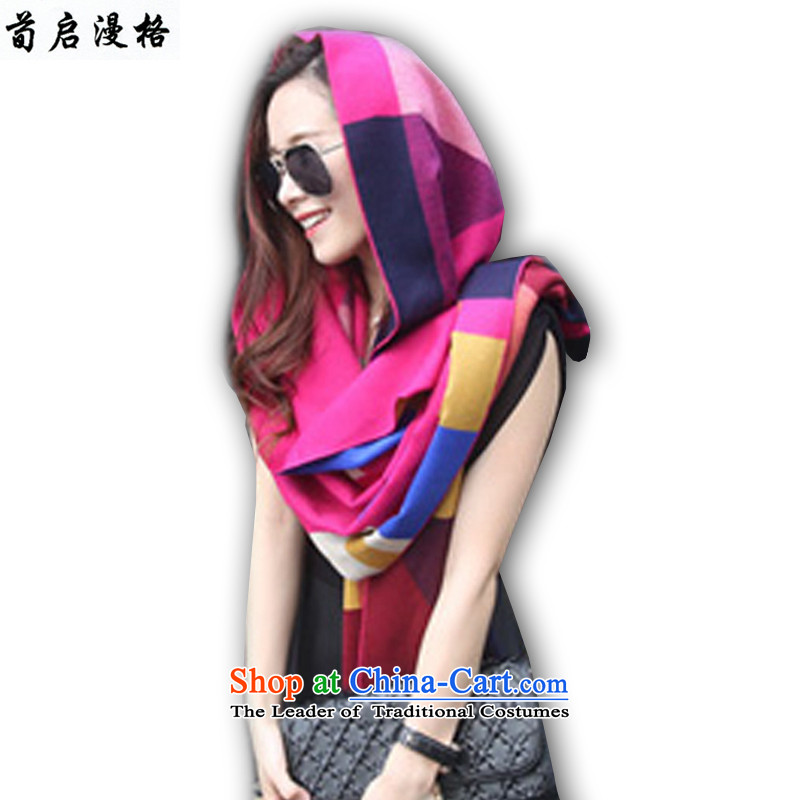 The flowering of Kai Man 2015 autumn and winter new color grid short cashmere shawls XWY615 Scarf by Su Red