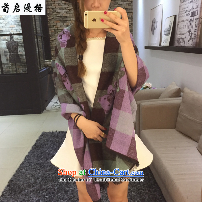 Sun Kai Man, autumn and winter new grid Cubs Jacquard Scarf Ms. pattern leisure warm with two shawls XWY621 Purple