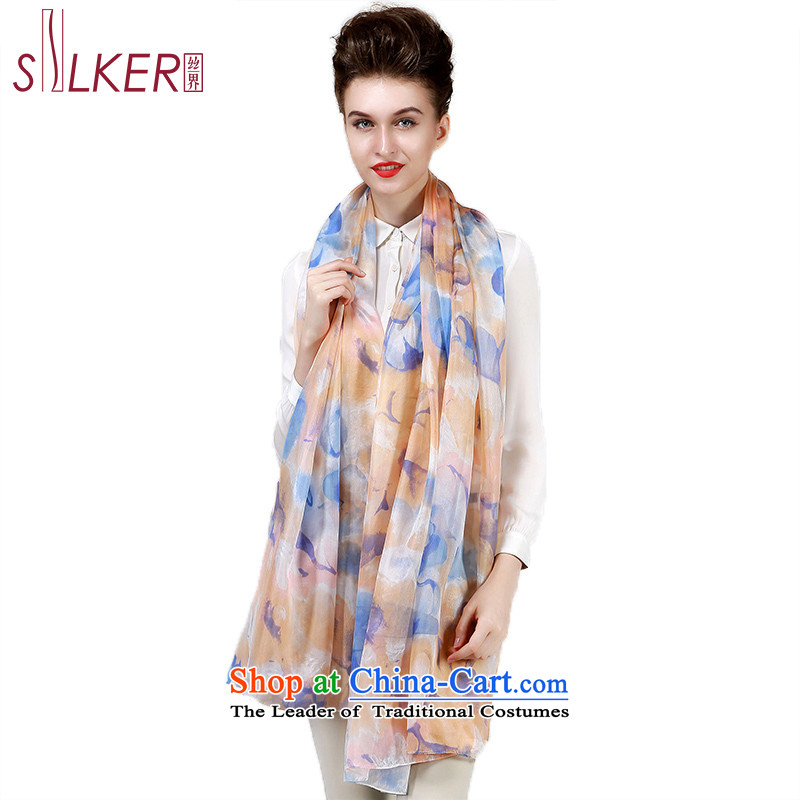 The population of New autumn SIGI silk scarves, herbs extract shawl scarf Yiu-flowers beige