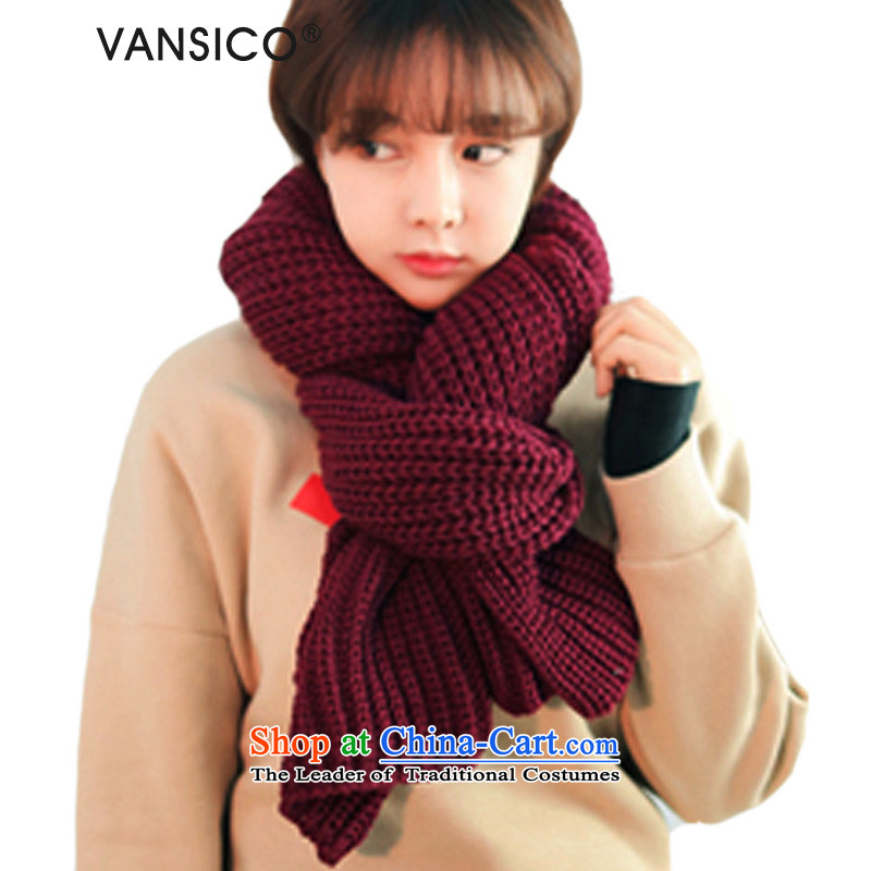 The end of the scarf female Korean VANSICO autumn and winter pure color line Knitting scarves scurf female couple handkerchief Ms. also autumn and winter Korean students thick extension (wine red)