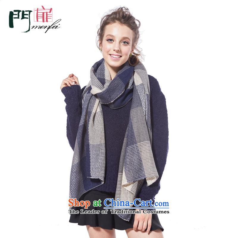 Door swings scarf girl of autumn and winter squares wild Knitting scarves knitted scarf Ms. warm longer thick a leisure England scarf shawl two white + blue patterned210_70 possession cm