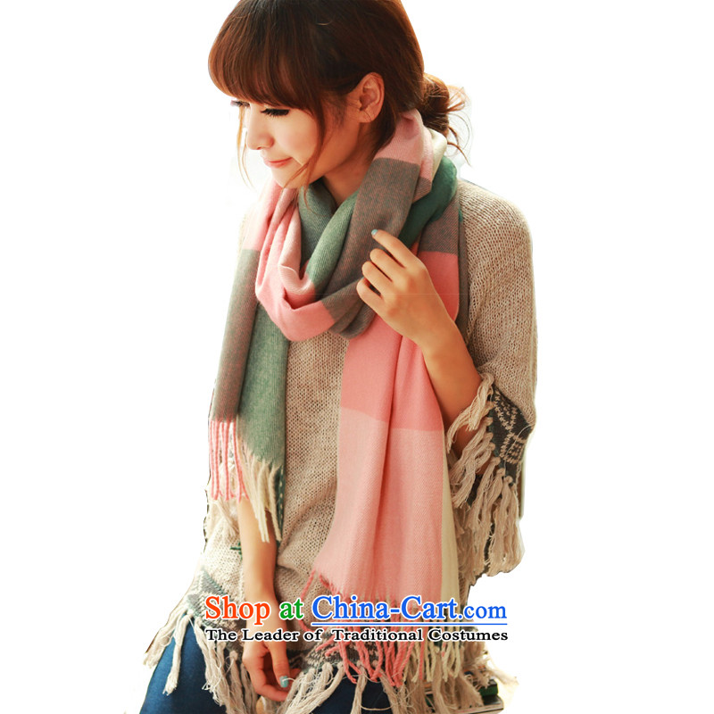 Korean men and women knitted fabric, winter taxi Korean autumn and winter, scarves knitted cardigans two flour of large green tartan