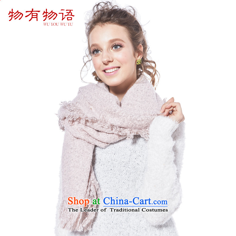 With the end of the scarf Monogatari female winter Korean Fancy Scarf dual-use thick warm knitting Ms. Wai Shing Pink