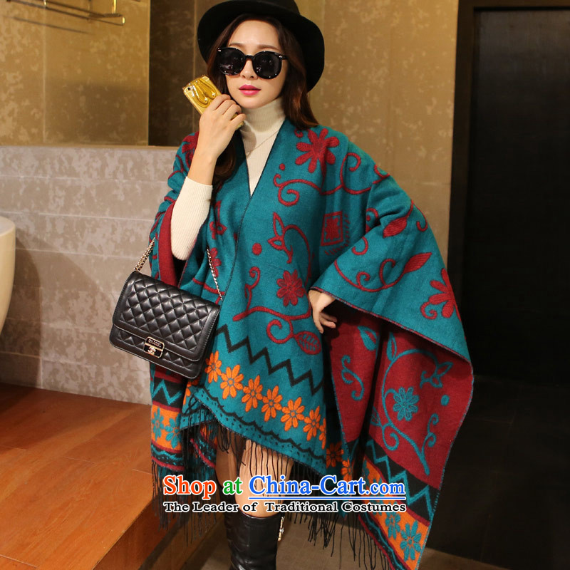The autumn and winter shawl scarf female sunflower thick national winds shawl dark green long 180CM* wide 130CM