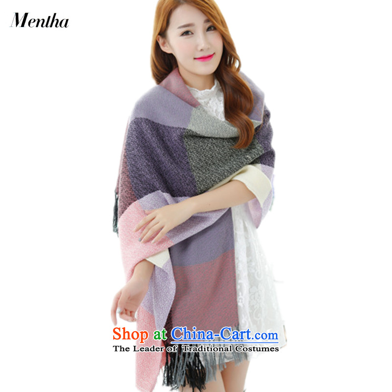 The Korean version of the new mentha elegant autumn and winter, scarf large compartments stitching Sleek and versatile emulation pashmina mauve Grid