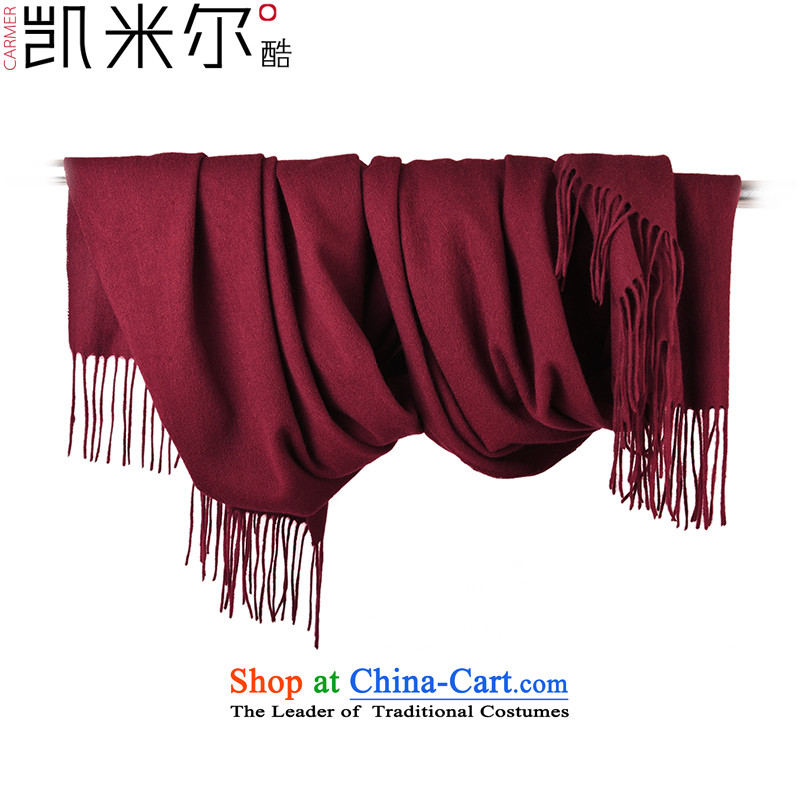 Kemi's core autumn and winter, pure Cashmere scarf thickened Ms. increase warm cashmere shawls wine red