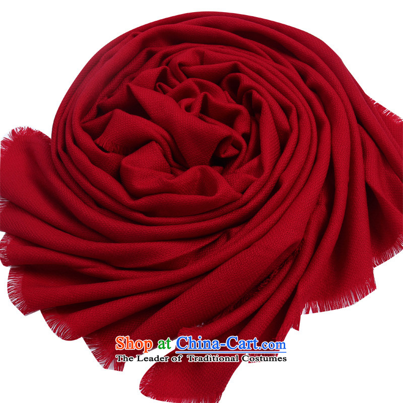 Shanghai Story autumn and winter Korean president wool of large warm color Fancy Scarf Wine red