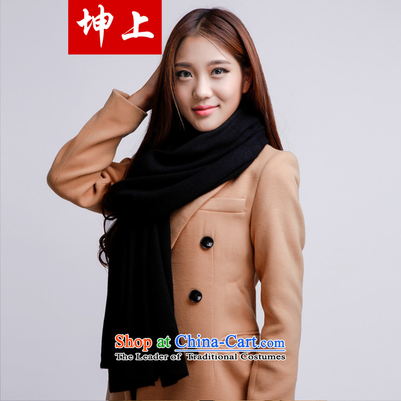 The Korean version of the rectangle on Kun president thick warm pashmina shawl pure color autumn and winter long a dual-use wild wool unisex couples leave black collar