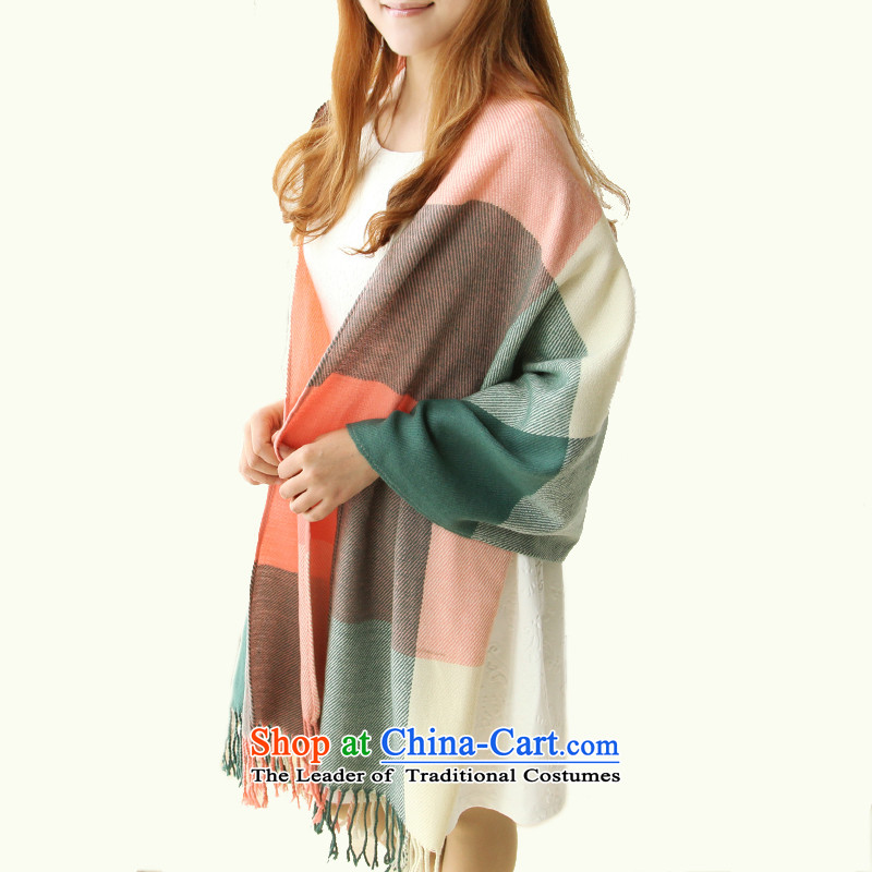 Taxi Dan Xiong emulation pashmina shawl Korean girl with a two-thick winter spring and autumn air-conditioning shawl long latticed edging green