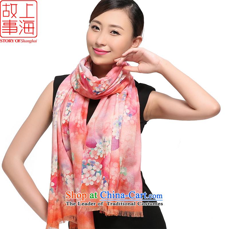 Shanghai Story2015 new o wooler scarf female winter 80 digital inkjet warm shawl extra-long history of flowers bloomed 169009 Pink