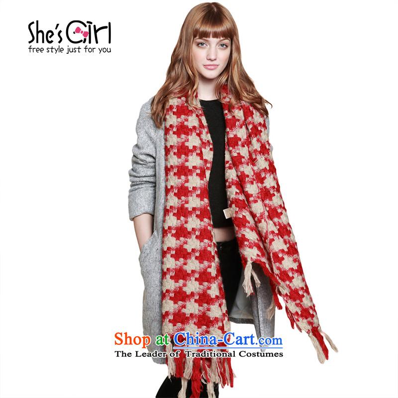 She'sgirl England pixel chidori grid, multi-use shawl fluffy a thick scarf GSP95194100