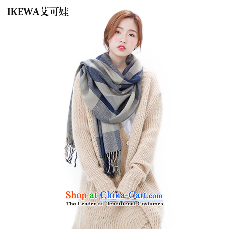 Hiv can be wa of IKEWA color emulation Cashmere scarf a classic grid shawl Gray