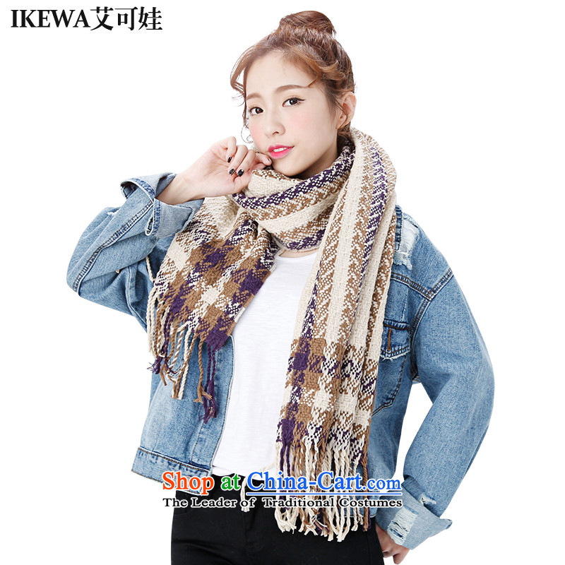 Ms. IKEWA HIV can be new Aegean emulation cashmere Knitting scarves knitted couples border shawl beige