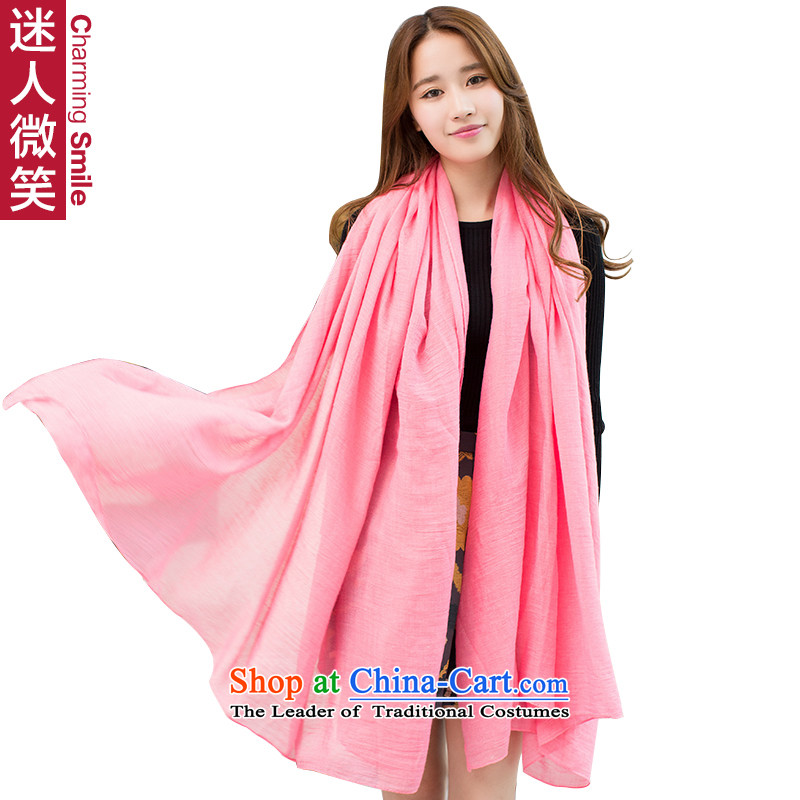 The charming smile of autumn and winter, Ms. Han silk scarf solid color cotton linen with Fancy Scarf warm extra large long-haired arts strawberries toner