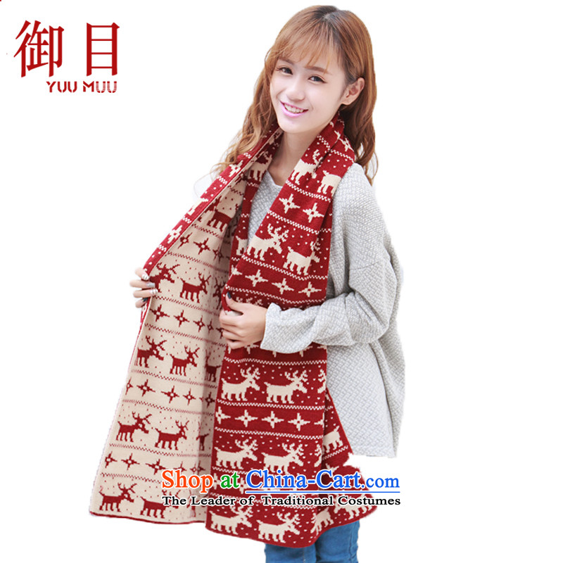 The mercy of the scarf female autumn and winter England Sorok long thick duplex scarves elk warm Sweater Knit a couple female scarf Red + beige180_40 cm