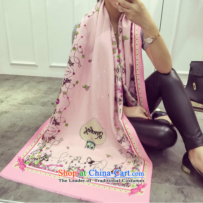 The end of the scarf female autumn and winter of rabbits kid warm shawl female cartoon images of the scarf Pink