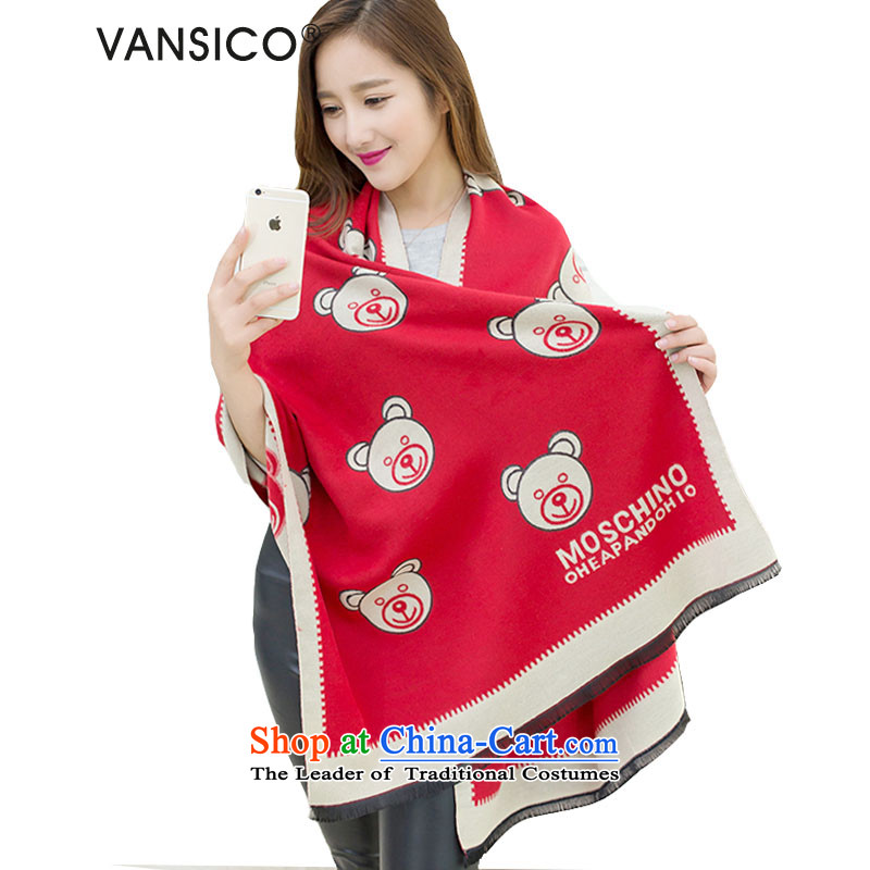 2015 New Korea VANSICO version Ms. wooler scarf of autumn and winter cubs warm cashmere shawls extra large scarf female female W8050 Cubs - Red