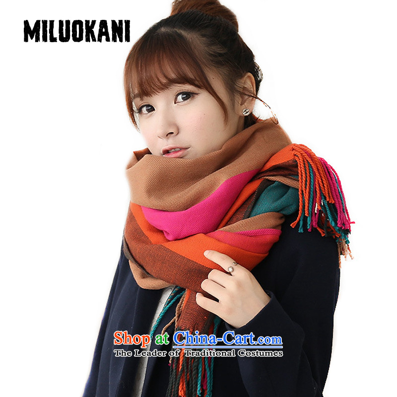 Seven-color streaks latticed scarf female winter Sleek and versatile long air-conditioned by the orange W117 Auxiliary Audio shawl red color