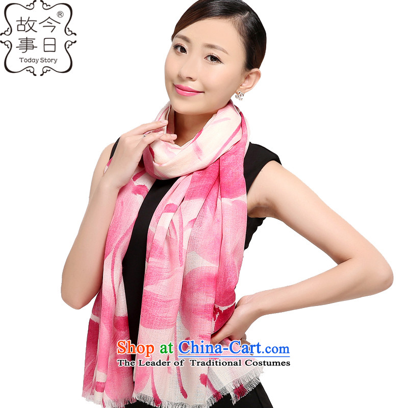 Today the new 2015 story of autumn and winter Korean president 80 o wool hand-painted silk scarf wild warm and stylish shawl178001petals Pink