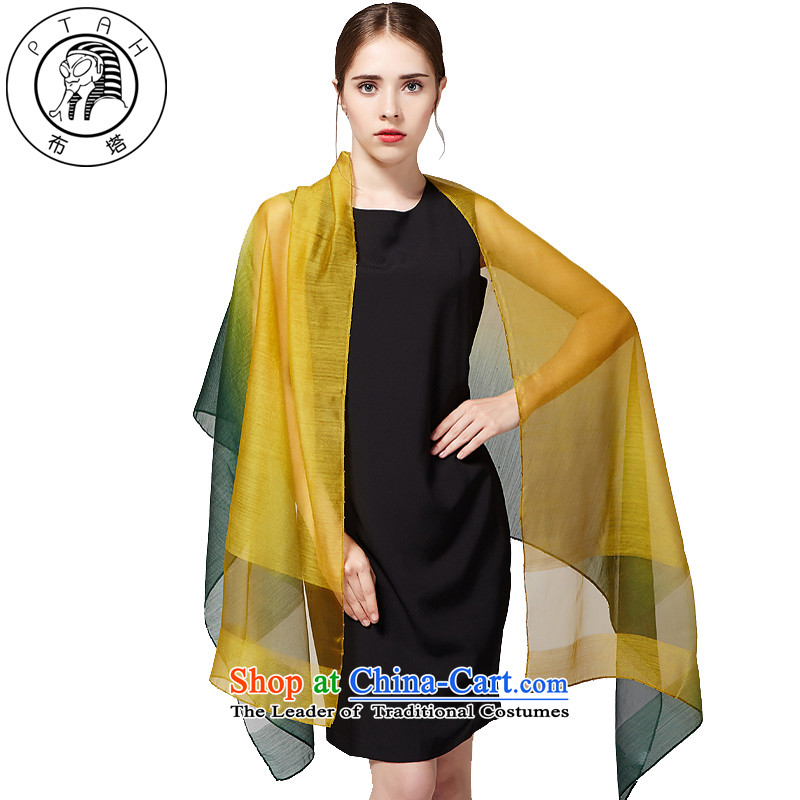Buta wooler scarf women hand-painted gradient warm woolen shawl staple a stylish scarves pearl silk scarf green + yellow
