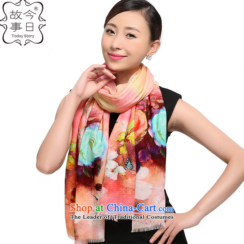 Today the new 2015 story of autumn and winter, Korean 80 digital inkjet o wooler scarf upscale warm air baffle shawl178006flower blooms fault light yellow