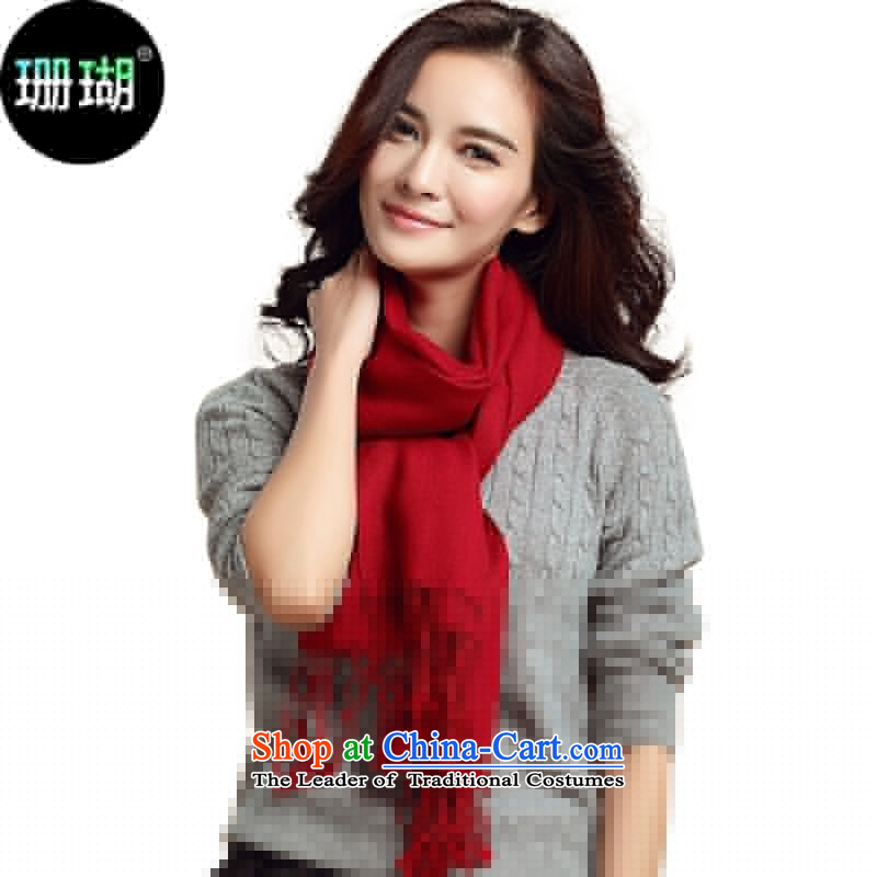 Wool Solid Color scarves coral female wild stylish shawl a W01 _01 Wine red
