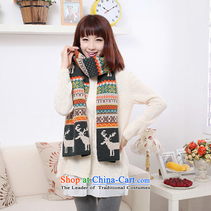 Taxi Dan Xiong Scarf Korean modern history of autumn and winter new students of both sexes knitting knitting duplex Sorok couples thick warm black and white scarf