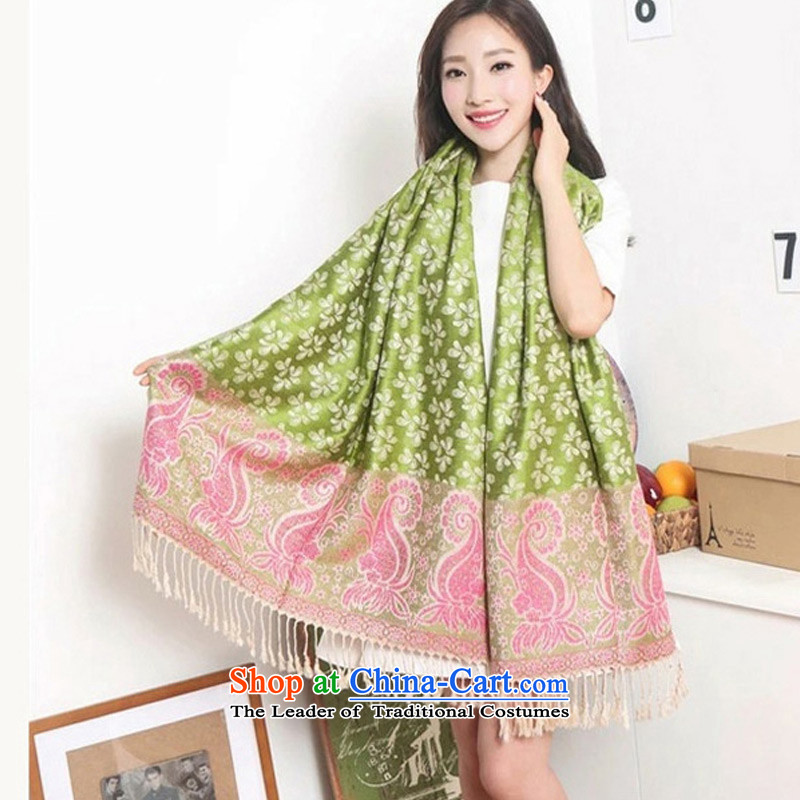 2015 Autumn and winter TAOYEE new ethnic ultra-Large Jacquard edging air-conditioning sunscreen shawl, Green
