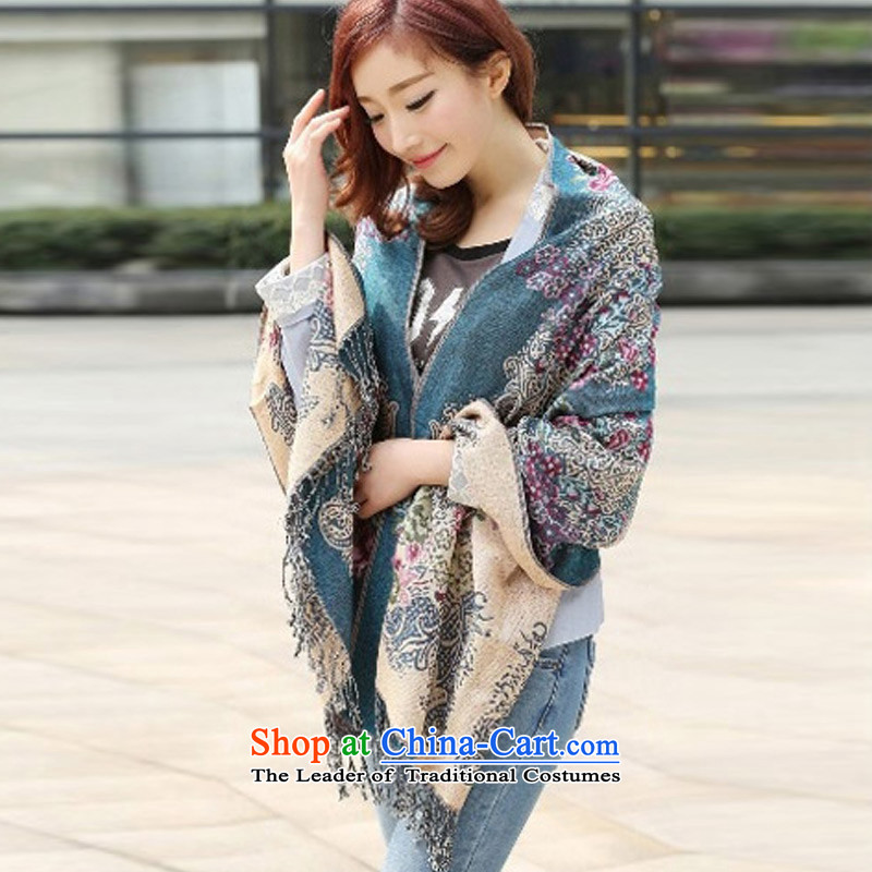 2015 Autumn and winter TAOYEE new ethnic cotton linen scarf duplex Ms. Thick Blue