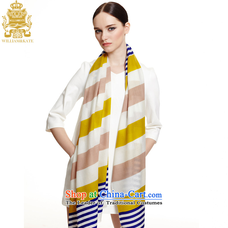 Williams _ Ms. Kate WILLIAM_KATE autumn and winter fleece scarf Australia wool and grew up bar wool Fancy Scarf curry rice white blue bar WJ35422 lemon yellow