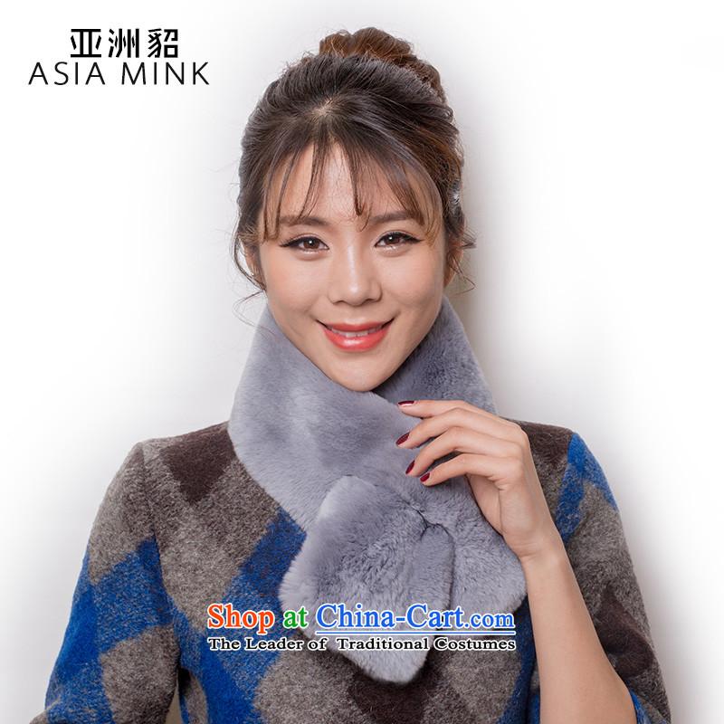 Asia stingrays 2015 winter new stylish Korean female scarves Otter's rabbit hair fur muffler thick warm winter Female Light Gray