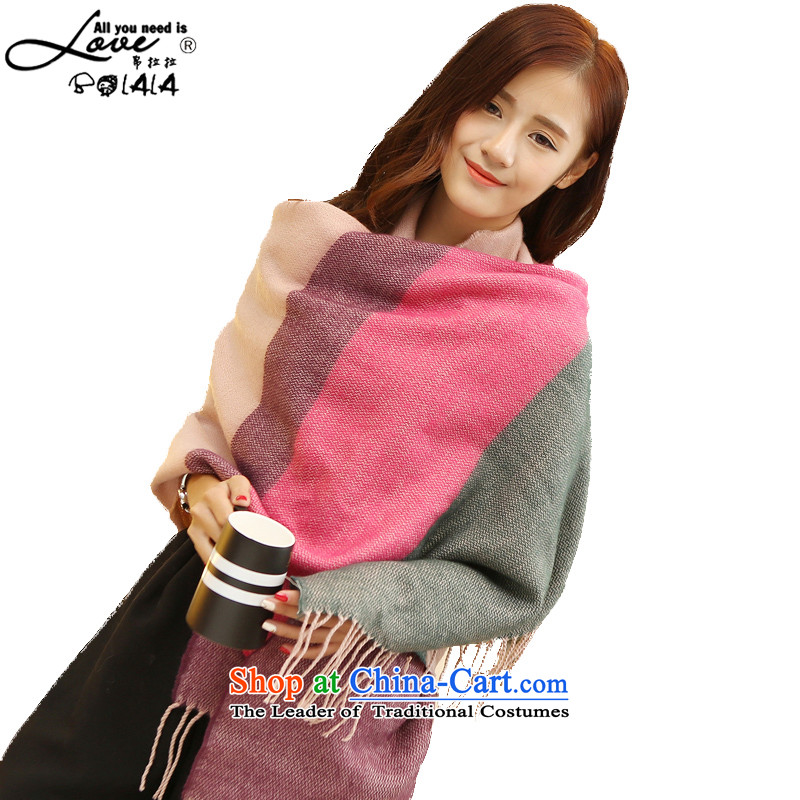 8LA 2015 Korean autumn and winter knocked color wide band shawl scarf female western emulation cashmere edging thick ultra-long warm Fancy Scarf dual-use a streaks bands must be 64*188 Pink