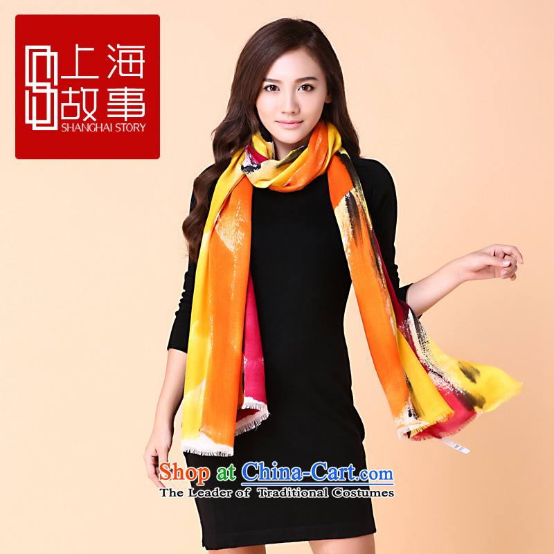 Shanghai Story Ms. pashmina long autumn warm winter Pure wool a shawl dual-use volume D. tattoo colorful floral - a